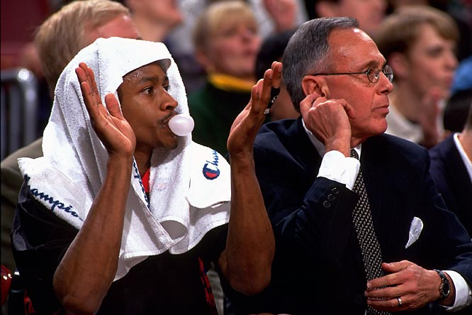 Allen Iverson and coach Larry Brown during happier times.
