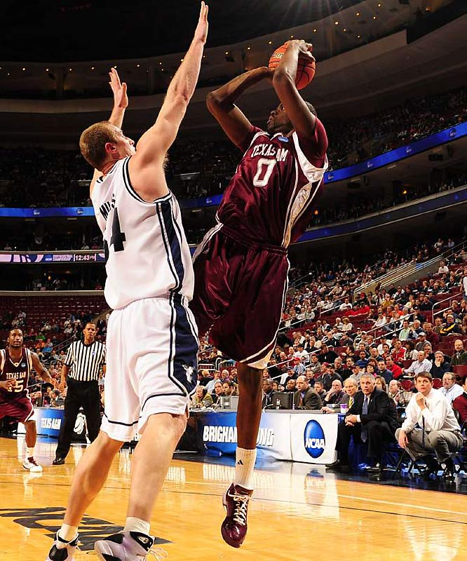 A&M advanced to the second round of the tournament for the fourth consecutive year thanks to a team-high 21 points by Bryan Davis (pictured).