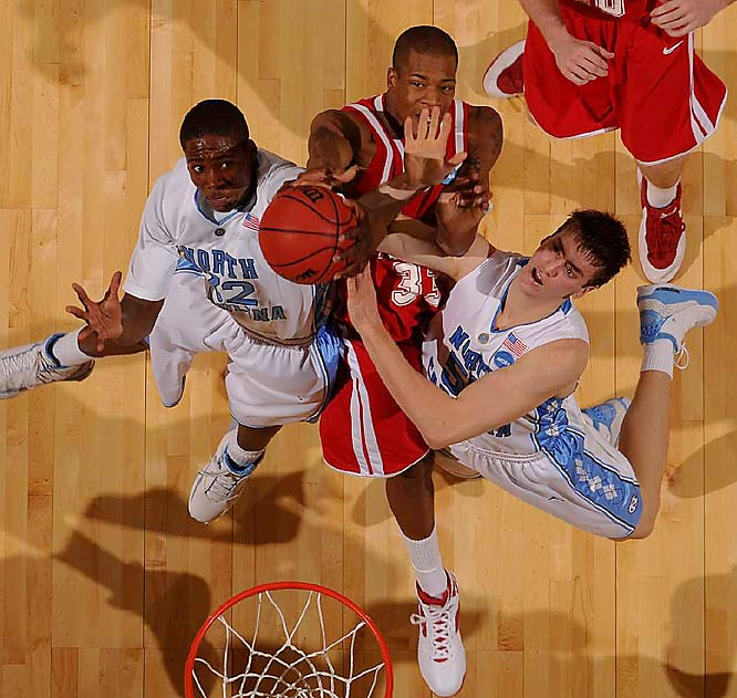 Tyler Hansbrough (right) became the leading scorer in Atlantic Coast Conference history and finished the game with 22 points.