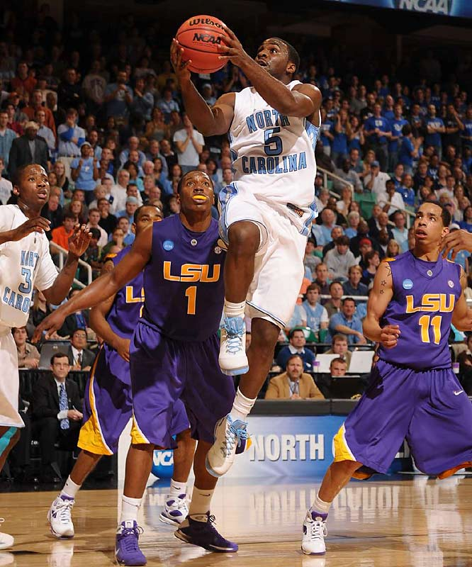 Ty Lawson scored 21 of his 23 points after halftime, and his three-point play sparked the decisive second-half run as North Carolina held off LSU.
