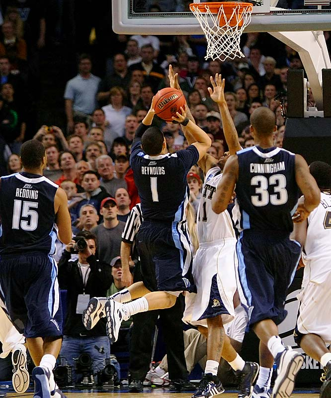 With the game tied at 76 with 5.5 seconds left, Villanova inbounded the ball to Dante Cunningham, who passed it quickly to Scottie Reynolds.  The speedy guard raced through the Pitt defense for a layup to put `Nova into the Final Four.