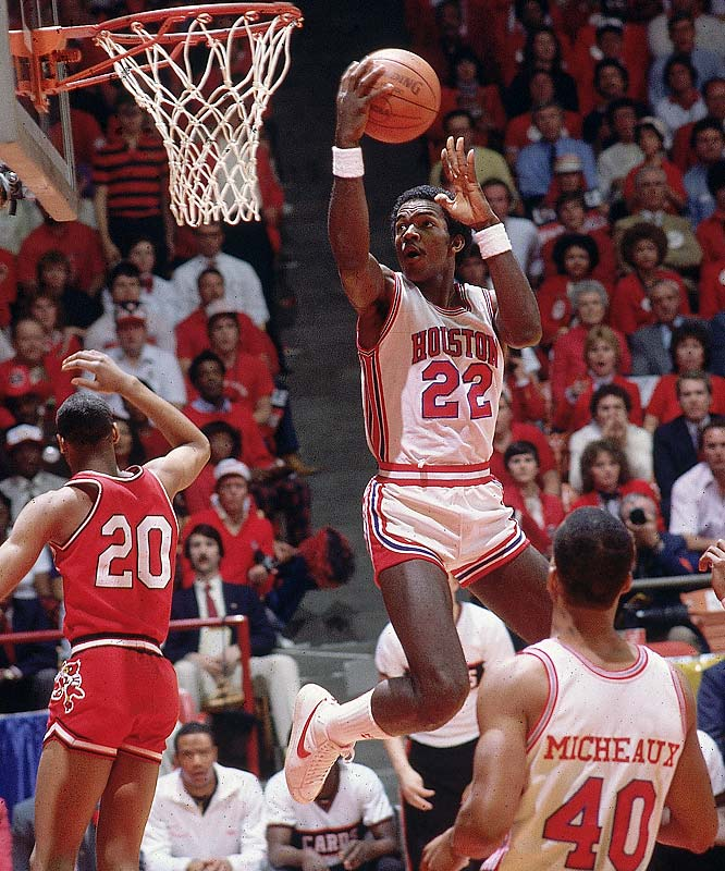 "Benn Arders, Michael Young, Clyde Drexler, Larry Michaeux and Akeem Olajuwon comprised ""Phi Slama Jama"" under coach Guy Lewis, reaching three consecutive Final Fours during the early 1980s and making national headlines with their explosive and trendsetting style of play. But ""Texas' Tallest Fraternity"" was most famous for its shocking upset loss at the hands of N.C. State in the '83 NCAA title game."