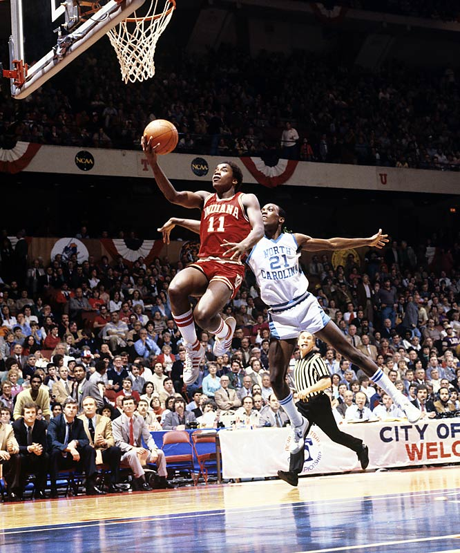 Isiah Thomas swoops in for a layup during the 1981 national championship game. The Hoosiers defeated the Tar Heels 63-50.