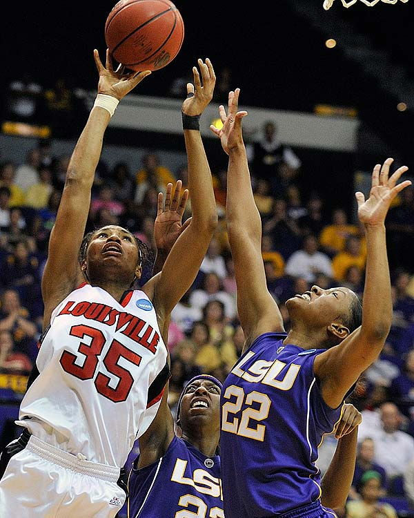 Another perennial Final Four contender went down as Angel McCoughtry (35) and the Cardinals got one step closer to history. Louisville has never made the Elite Eight, while LSU had gone to five consecutive Final Fours.