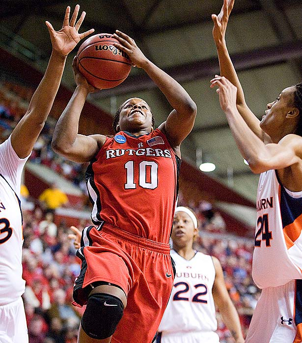 Rutgers' sharpshooter Epiphanny Prince notched a game-high 27 points as the Scarlet Knights destroyed Auburn in the second round.