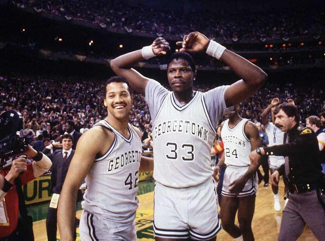 Patrick Ewing collects his thoughts after his Georgetown squad knocked out Houston for the national title.