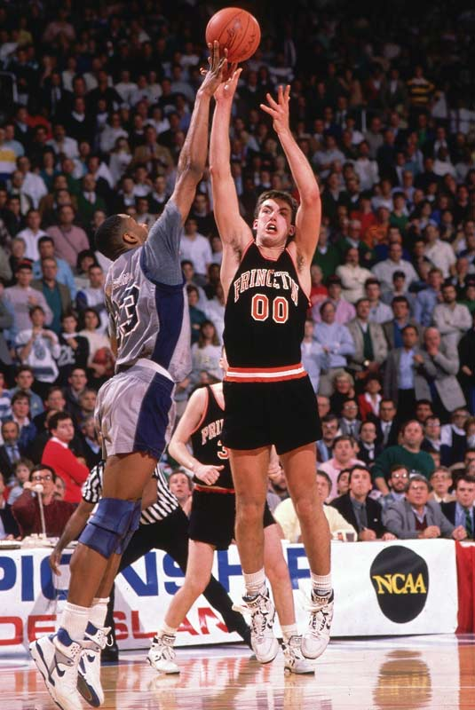 Georgetown's Alonzo Mourning blocks a shot during the Hoyas' one-point victory over Princeton in the opening round of the 1989 NCAA tournament.