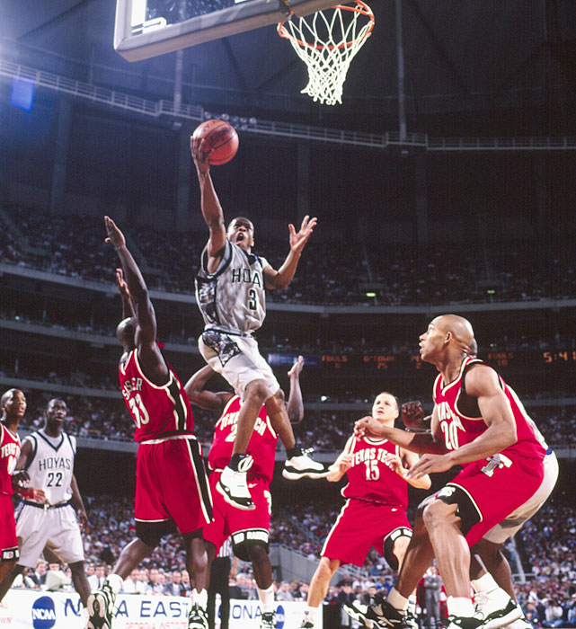A young Allen Iverson slices through the Fresno State defense in the 1996 tournament.