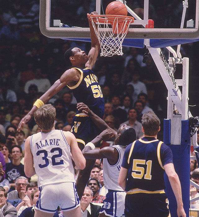 "Navy's David ""The Admiral"" Robinson dunks in a 1986 Elite Eight game against Duke."