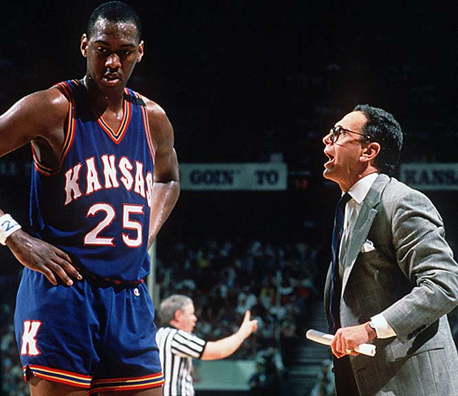 Kansas coach Larry Brown yells at Danny Manning during a break in play at the 1988 NCAA Tournament.