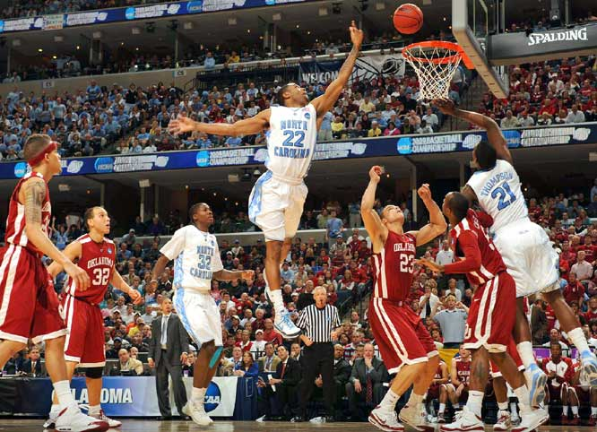 Wayne Ellington (22) scored nine points as Carolina soared past Oklahoma in the South Regional final.