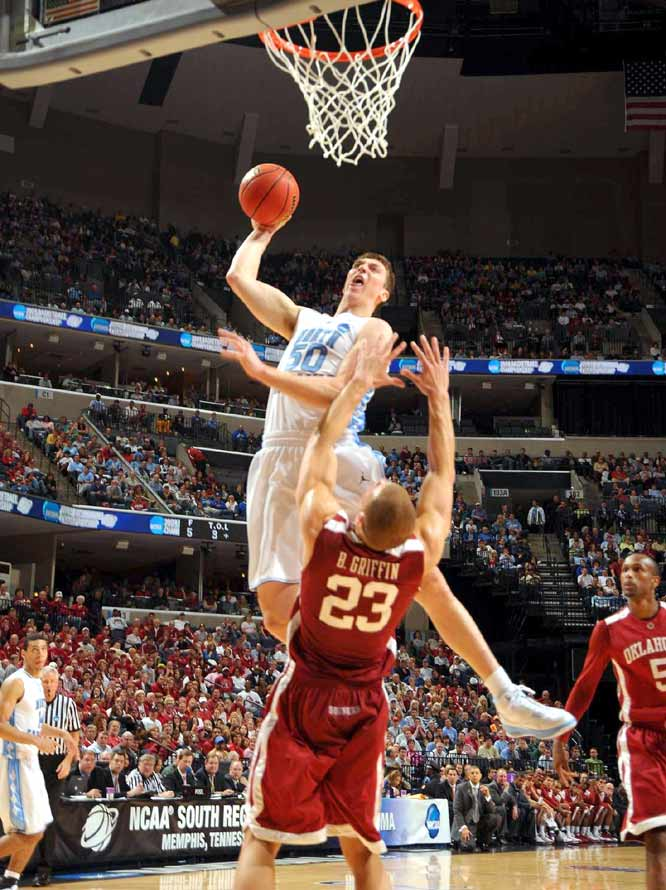 In the much-anticipated showdown between All-Americans, Tyler Hansbrough had eight points and eight boards, while Blake Griffin carried the Sooners with 23 points and 16 rebounds.
