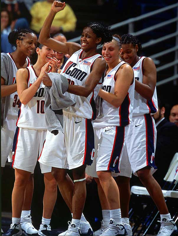 All-America point guard Sue Bird ran the show for a Connecticut team replete with frontcourt stars (Swin Cash, Ashja Jones, Tamika Williams) and an emerging sophomore guard named Diana Taurasi. The Huskies won their first 38 contests -- including a Final Four showdown with Tennessee -- to advance to the national title game. Cash mauled the Oklahoma frontcourt in the final, tallying 20 points and 13 rebounds to punctuate Connecticut's