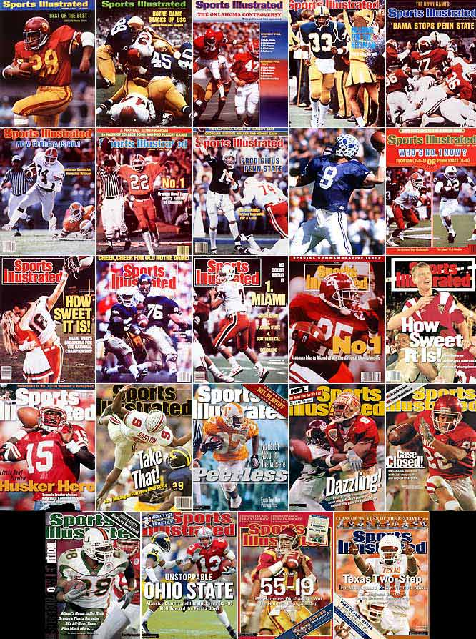 Perfection is practically a prerequisite for college football's Division I national champion, thanks to a relatively short regular season and absence of a traditional playoff format. Twenty-four of the last 36 champs have finished undefeated (pictured at left, listed below) -- with dozens of others having entered bowl season with a perfect record and realistic shot at the title. Until university administrators dump the current system -- as discussed at the recent NCAA convention -- college football will remain the lone mainstream sport where a ''perfect'' team can finish second.(From top left: 1972 USC, 1973 Notre Dame, 1974 Oklahoma, 1976 Pittsburgh, 1979 Alabama, 1980 Georgia, 1981 Clemson, 1984 BYU, 1986 Penn State, 1987 Miami, 1988 Notre Dame, 1991 Miami, 1992 Alabama, 1994 Nebraska, 1995 Nebraska, 1997 Michigan, 1998 Tennessee, 1999 Florida State, 2000 Oklahoma, 2001 Miami, 2002 Ohio State, 2004 USC, 2005 Texas.)