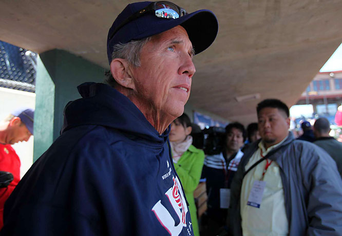 Team USA's manager Davey Johnson looks on during the squad's first workout. The former Reds and Orioles manager skippered a much younger team to gold at the Beijing Olympics.