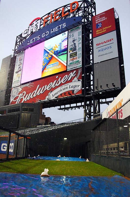 The centerfield display, which sits above the visiting team's bullpen, is 50 feet high by 70 feet wide.
