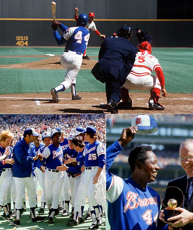 With 713 home runs entering the '74 campaign, Hank Aaron began the season one four-bagger shy of all-time homer king Babe Ruth. Hammerin' Hank didn't waste much time, smacking the record-tying blast in the season opener at Cincinnati's Riverfront Stadium.