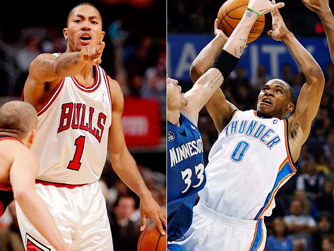 Two leading Rookie of the Year contenders -- Derrick Rose and Russell Westbrook -- go head-to-head in Oklahoma City. Rose was the early front-runner, but Westbrook has been coming on strong for the improving Thunder.