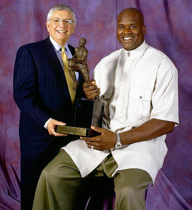 "Shaq wasn't a fan when the commissioner instituted a dress code for players and (briefly) replaced the leather basketball with a synthetic version. O'Neal said Stern ""should get with the mothers of the NBA and let the moms decide what the dress code should be,"" and the big fella likened the new ball to ""touching an exotic dancer and then touching a plastic blowup doll."""