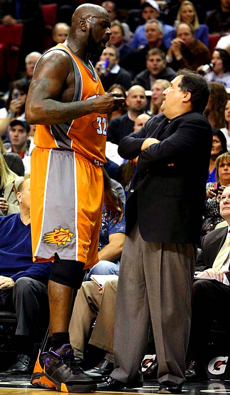 "After Orlando coach Stan Van Gundy called him out for flopping against Dwight Howard in a March 2009 game, Shaq unloaded on the man who coached him over two seasons in Miami: ""Flopping to me is doing it more than one time, and I realized when I tried to take the charge, as I went down, I realized that that play reminded me of his whole coaching career. And one thing I really despise is a front-runner, so I know for a fact that he's a master of panic, and when it gets time for his team to go in the postseason and do certain things, he will let them down because of his panic. I've been there before, I've played for him."""