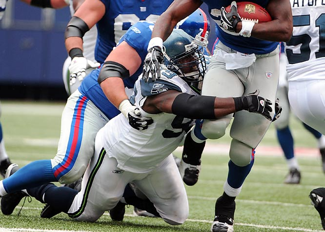 Bernard signed a five-year, $25 million deal to  join the Giants' stingy defensive line. He notched a career-high 55 tackles (43 solo) in 2008 while playing on a disastrous Seahawks squad that went only 4-12.