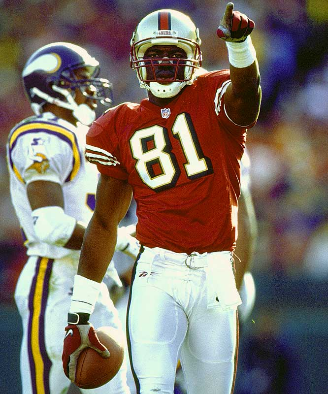 When Jerry Rice went down with an ACL injury in 1997, Owens became the No. 1 receiver, totaling 60 receptions for 936 yards and eight touchdowns.