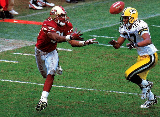 Owens' dramatic touchdown catch against the Packers in the 1998 NFC wild-card game gave the 49ers a 30-27 victory.