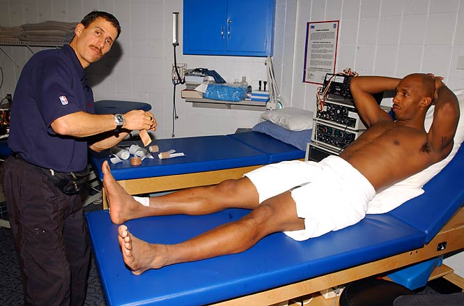 Chauncey Billups gets some treatment before a game against Denver.