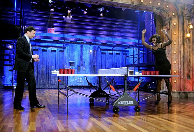 Fallon might have been uncomfortably tight during his first week of hosting Late Night, but his hilarious mini beer pong game with Serena Williams seems to have been a turning point for Fallon, who has looked far more comfortable since the skit. We'll see if Williams' first beer pong win can do the same for her on the court.