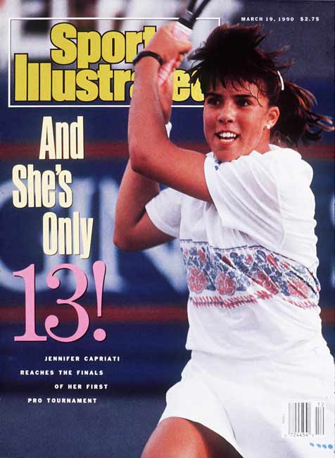 Jennifer Capriati, 13, plays her first professional tennis match.