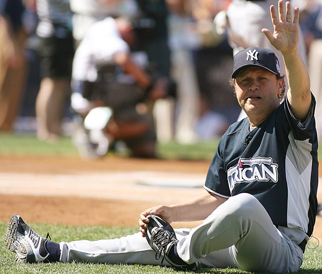 Joining the ranks of Garth Brooks and Tom Selleck as celebrities who have appeared in an spring exhibition game, Billy Crystal strikes out in the first inning as the Yankees' leadoff batter.