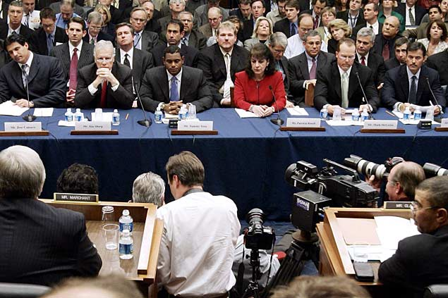 During 11 hours of the Committee on Government Reform hearing concerning major league player use of steroids, Mark McGwire refuses to talk about the past and does not deny taking performance enhancing drugs. Other players testifying included Curt Schilling, Sammy Sosa, Rafael Palmeiro and former big leaguer Jose Canseco, whose  book prompted the hearing.