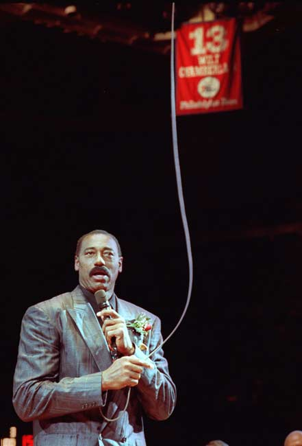 The Philadelphia 76ers retire Wilt Chamberlain's No. 13 jersey, only the fifth jersey ever retired by the Sixers (along with Billy Cunningham, Hal Greer, Bobby Jones and Julius Erving). Chamberlain ultimately had his jersey retired by the Los Angeles Lakers and Golden State Warriors, becoming the first NBA player to have his number retired by three teams.
