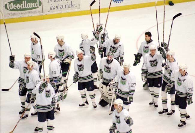 Hartford Whalers announce their impending move from Connecticut following the 1996-97 season. The next year the team became the Carolina Hurricanes.
