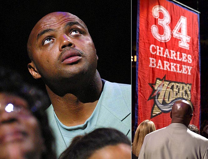 The Philadelphia 76ers retired the uniform number 34 in honor of Charles Barkley, who played eight seasons for the Sixers, from 1984 to 1992. Barkley became the seventh player in 76ers' history to have his number retired.