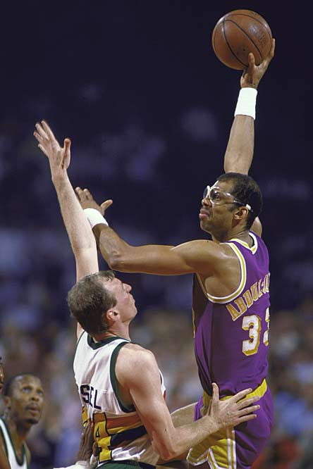 Kareem Abdul-Jabbar becomes the NBA's all-time leader in personal fouls (4,194) committed when he charges into Denver's Danny Schayes with 4:23 left in the first quarter of the Lakers' 143-107 victory over the Nuggets.