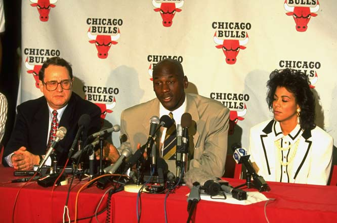 Citing the labor unrest as the reason, former Chicago Bulls great Michael Jordan announces he is leaving baseball to return the NBA.