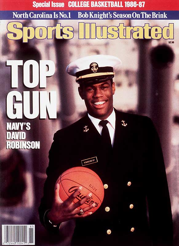 While at Navy, David Robinson was named the John Wooden and James Naismith award winner. He was also selected by the San Antonio Spurs as the first pick in the NBA Draft. But he would have to wait a couple years before making the leap to the pros, as he had to serve two years in the Navy -- three years short of the norm -- before he could take center court in Texas.