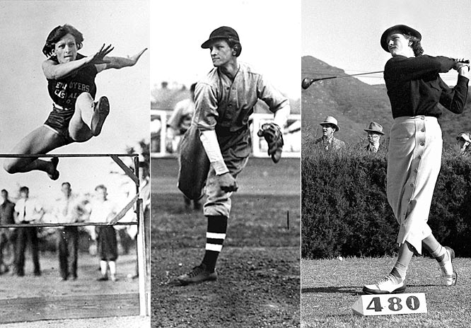 "The only female to make the list, Zaharias won gold in the javelin, 80-meter hurdles and high jump at the 1932 Olympics. From there, she went onto become the greatest female golfer of all time, winning five majors before illness cut her career short. But that's not all. Zaharias was also a baseball nut and such a natural hitter that she earned the nickname ""Babe,"" a tribute to the famous Yankee slugger."