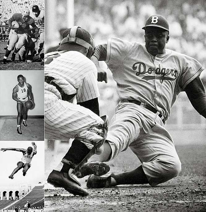 Before his groundbreaking, Hall of Fame career with the Dodgers, Robinson became the first to letter in four sports at UCLA. He actually struggled as a shortstop at UCLA, but was a standout as a running back, point guard and long jumper.