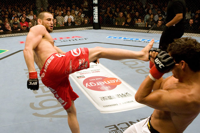 Fitch (red trunks) was a four-year letterman with the Purdue wrestling team, and was even named team captain. Since his first professional MMA fight in 2002, he has racked up 18 wins in 21 matches -- one of which was a split-decision victory over Diego Sanchez at UFC 76.