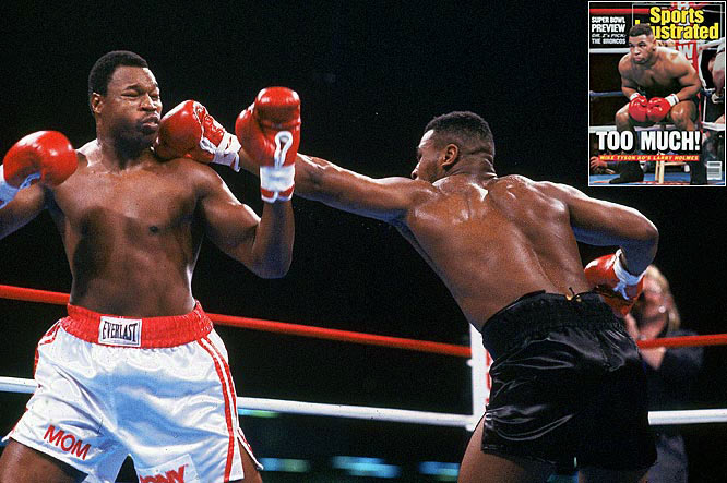 In his 75 professional fights, former champion Larry Holmes was knocked out only once -- to Tyson on Jan. 22, 1988.
