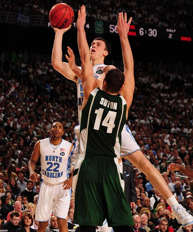 UNC's Tyler Hansbrough scored 18 points in his final college game.