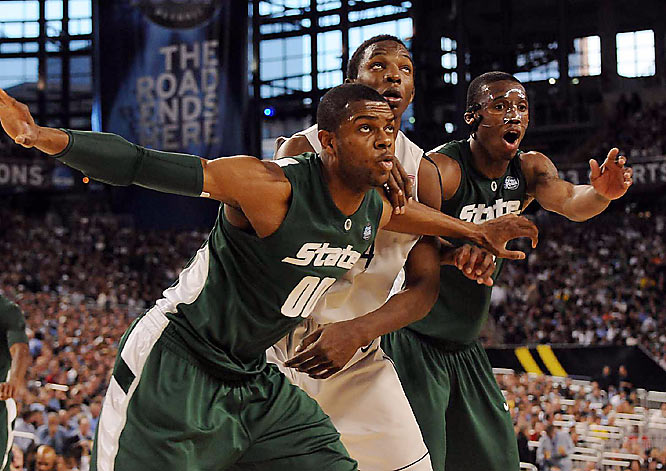 Michigan State limited Hasheem Thabeet -- all of 7-foot-3 -- to only six rebounds in its 82-73 win on Final Four Saturday.