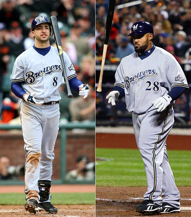 With CC Sabathia and Ben Sheets gone, the Brewers entered this season knowing they'd have to rely even more on their young sluggers. Unfortunately, Ryan Braun and Prince Fielder have hit just one home run apiece, and J.J. Hardy's hitting .114.