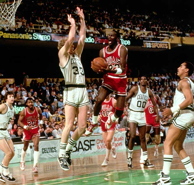 "After breaking his foot in the third game of his second season, Jordan returned in time for a first-round playoff series against the Celtics. In Game 2, Jordan scored a playoff-record 63 points in the Bulls' 135-131 double-overtime loss at Boston Garden. ""God disguised as Michael Jordan,"" said Larry Bird, whose Celtics swept Chicago in three games."