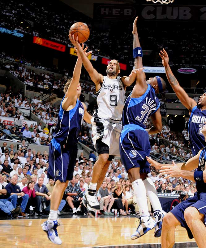 Parker equaled the Mavs' first-quarter total with 19 points, ended the first half with 27 and finished with 38 (on 16-of-22 shooting) in the Spurs' 105-84 win in Game 2. Two games later, Parker tied George Gervin's franchise playoff record for points in a half (31 before intermission) en route to 43 points in a 99-90 loss.