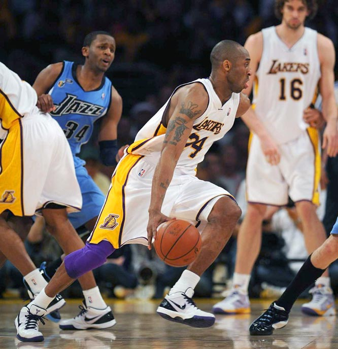 Kobe Bryant scored 24 points as the Lakers pretty much had their way in Game 1 against the eighth-seeded Jazz.