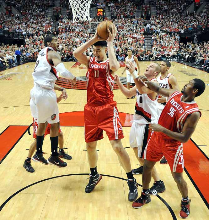 The Blazers had no answer for the Rockets' man in the middle. Yao hit all nine of his shots and all six of his free throw attempts, and the Rockets went on to steamroll the Blazers 108-81.