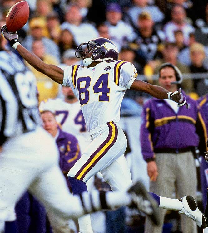 The explosive wide receiver likely would have been picked higher if it weren't for off-field issues, and he entered the NFL on a mission to burn the teams that passed on him. Moss caught 17 touchdowns his rookie season and helped the Vikings develop one of the most potent offenses in NFL history over the next several years. He rejuvenated his career with the Patriots, setting the single season touchdown reception record in 2007 with 23.